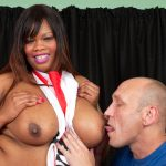 Busty Cookie fucks white cock