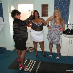 Busty trio sharing cock