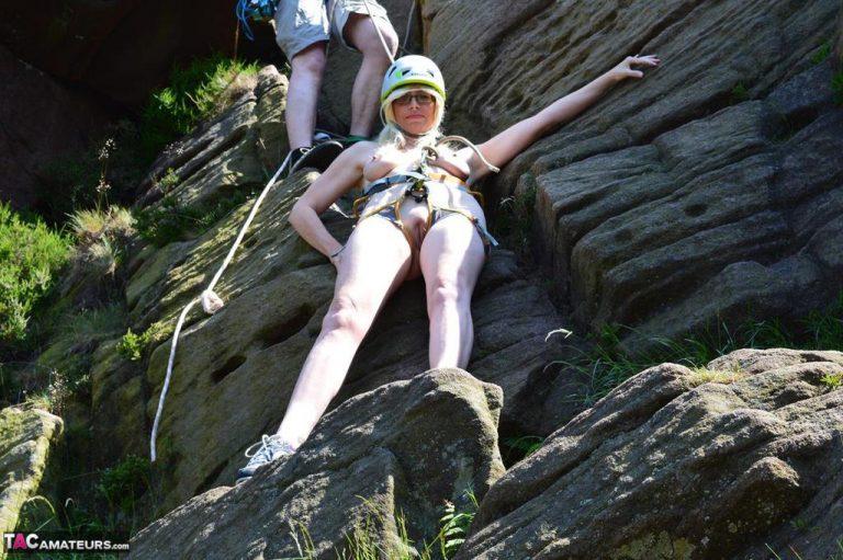 Rock climbing topless
